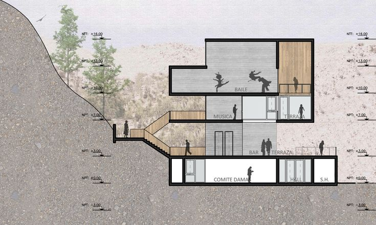 Seinfeld Arquitectos + Tandem Arquitectura, mención honrosa en concurso de nuevo edificio de Rinconada Club,Corte/Sección BB