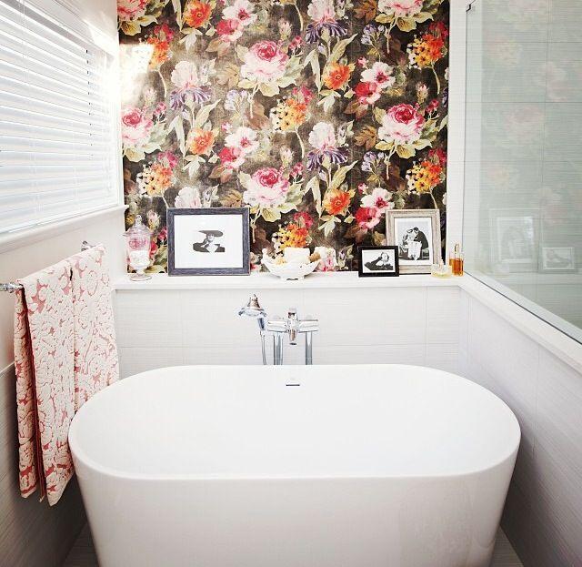 I Love This Watercolor Floral Wallpaper! A Bathroom Make