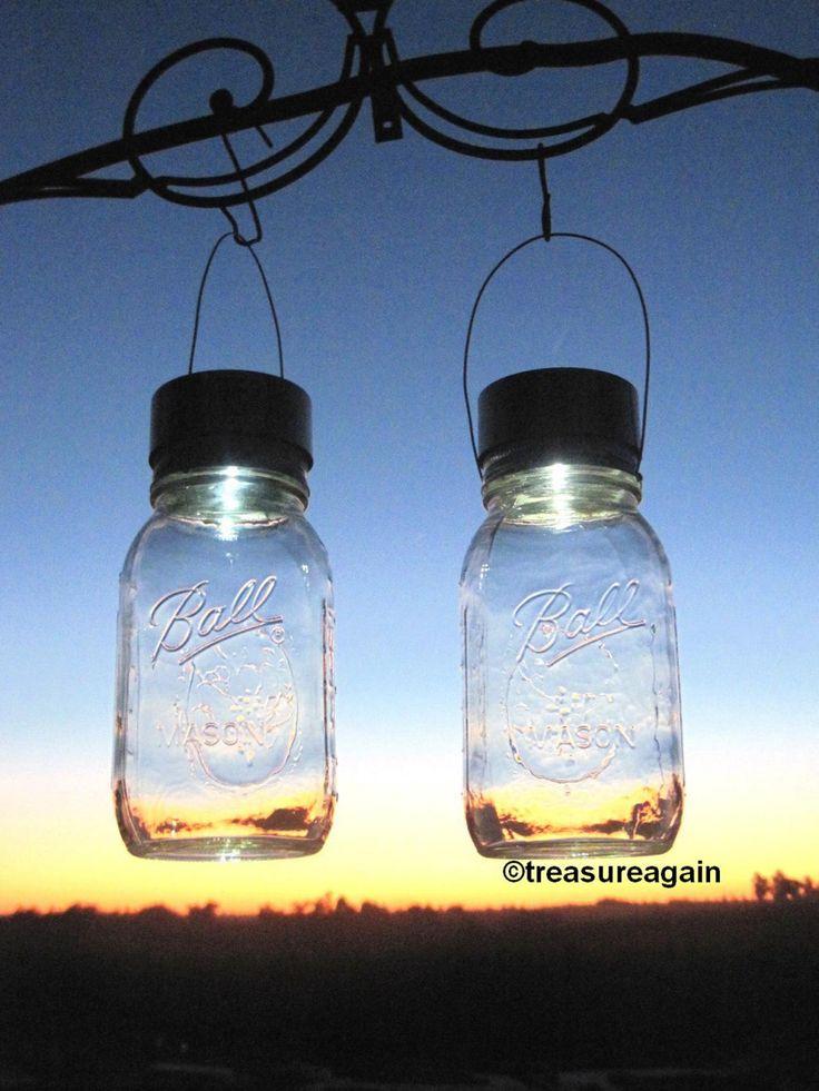 Twist-on, solar-powered lids by TreasureAgain@etsy, make these jars look like they've captured fireflies- HGTV blog