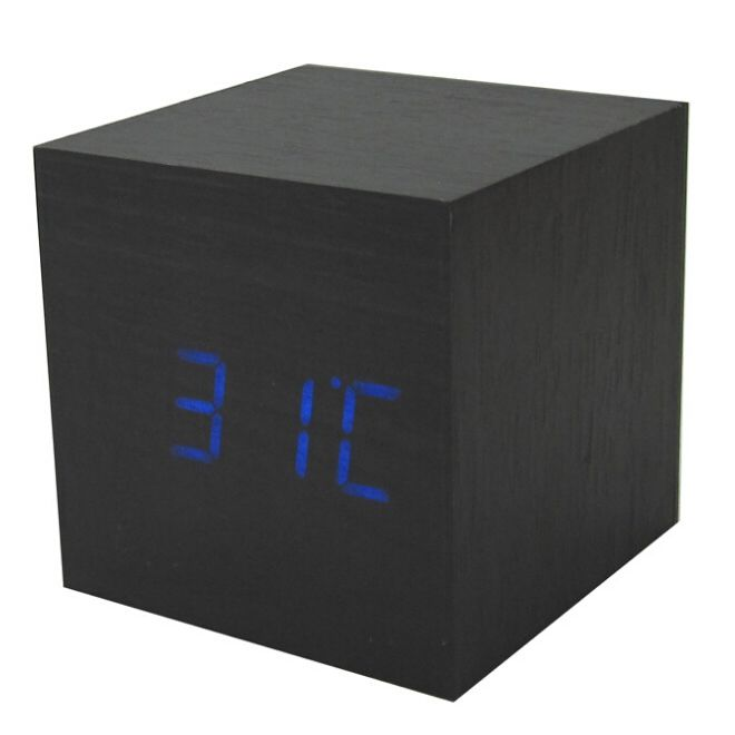 TFBC Wood Cube LED Alarm Control Digital Desk Clock Wooden Style Room Temperature Black wood blue led