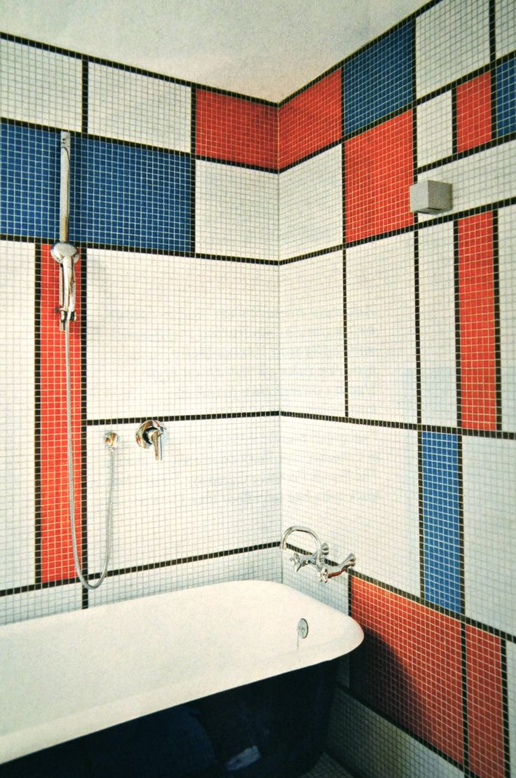 Mondrian mosaic bath decorative paintng pinterest for Bathroom mosaic design