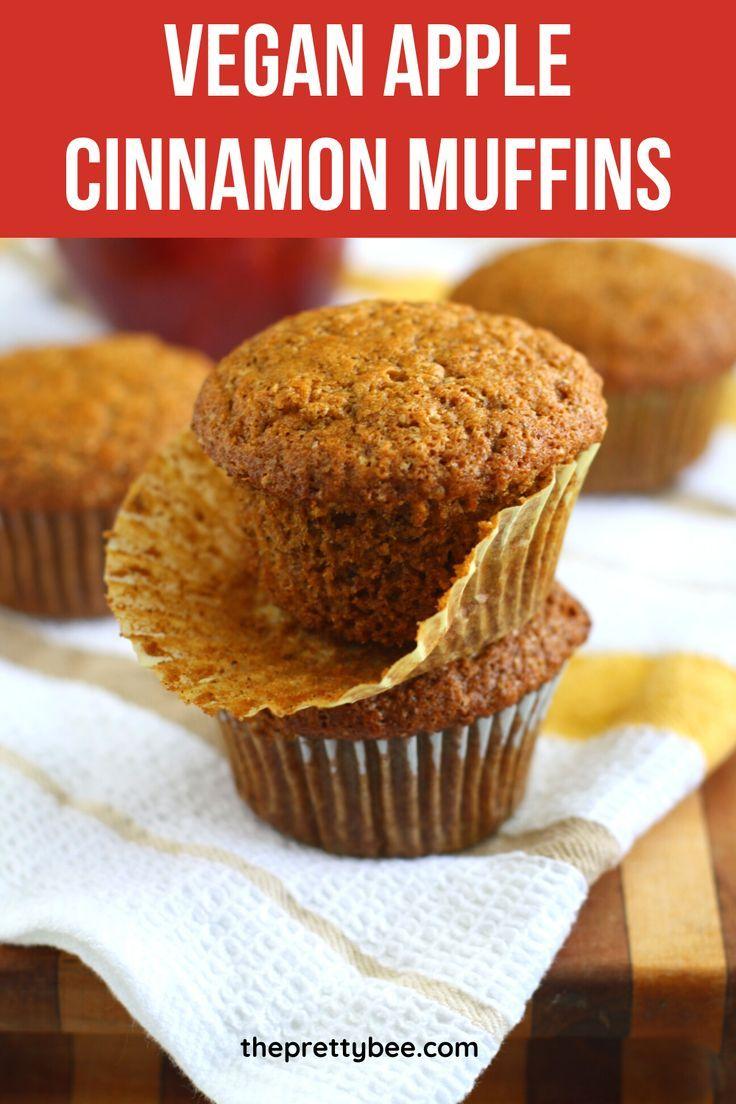 Vegan Applesauce Muffins The Pretty Bee Recipe In 2020 Vegan Applesauce Muffins Applesauce Muffins Apple Cinnamon Muffins