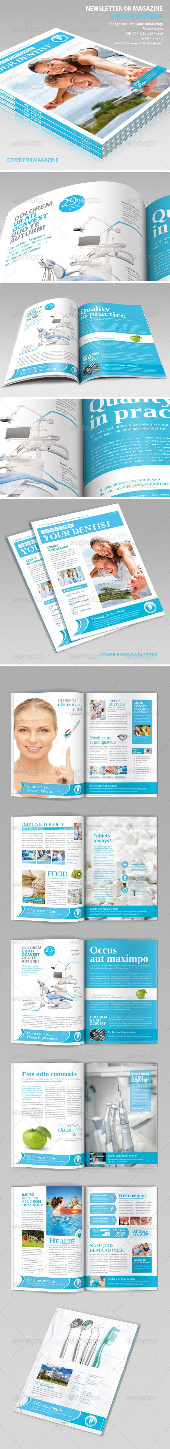 Medical Newsletter or Magazine #GraphicRiver Newsletter. Perfect for medical or other business promotion 12 pages possibility of creating many unique spreads. All elements are editable. All icons and badges included. FEATURES 3 x *.indd files: - your dentist.indd – one cover version and all inside pages - your dentist cover for brochure.indd – secound cover version - ridge of the newsletter your dentist. indd – file with ridge 12 x pages in *.Indd file