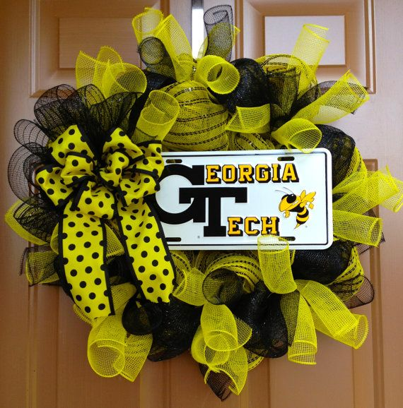 This GT Wreath Is Decorated With A Georgia Tech License Plate Yellow Mesh Black And Ribbon