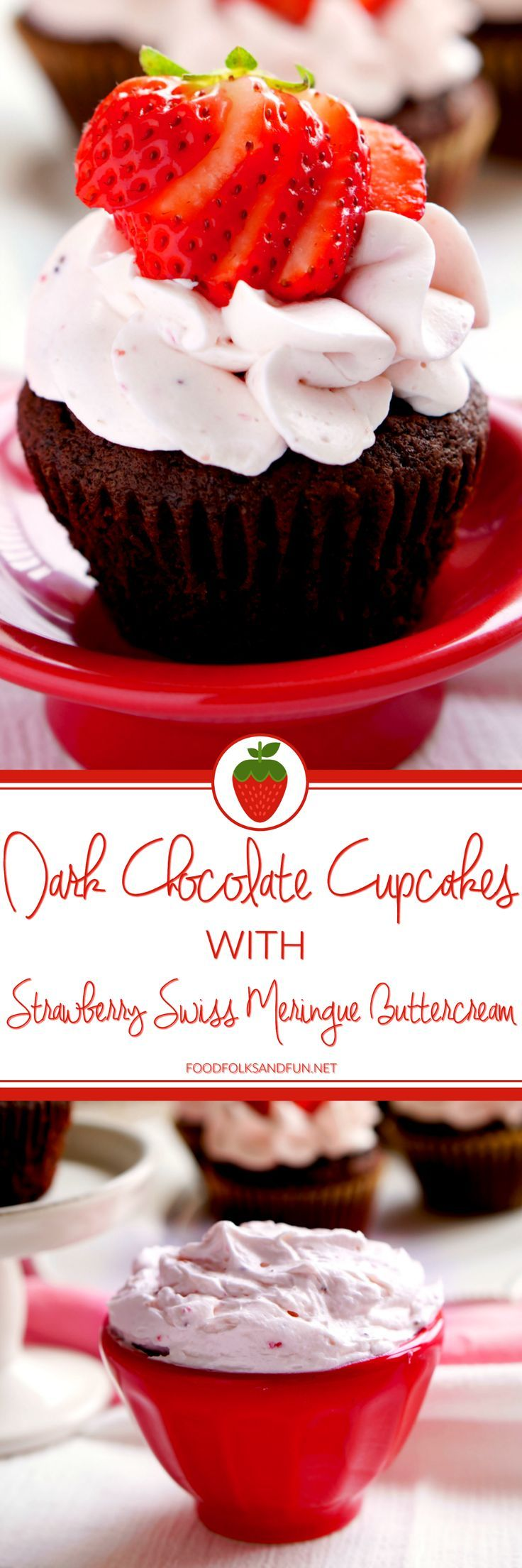 These Dark Chocolate Cupcakes are the perfect cupcakes when you need a chocolate fix. They're covered with a light, creamy and not too sweet Strawberry Swiss Meringue Buttercream, and perfect for Valentine's Day! | #Chocolate #ChocolateLover #ChocolateRecipe #Cupcakes #Strawberry #ValentinesDay #ValentinesDayRecipe