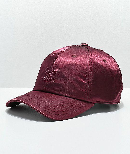 474203326919f adidas Women s Original Burgundy Satin Strapback Hat in 2019