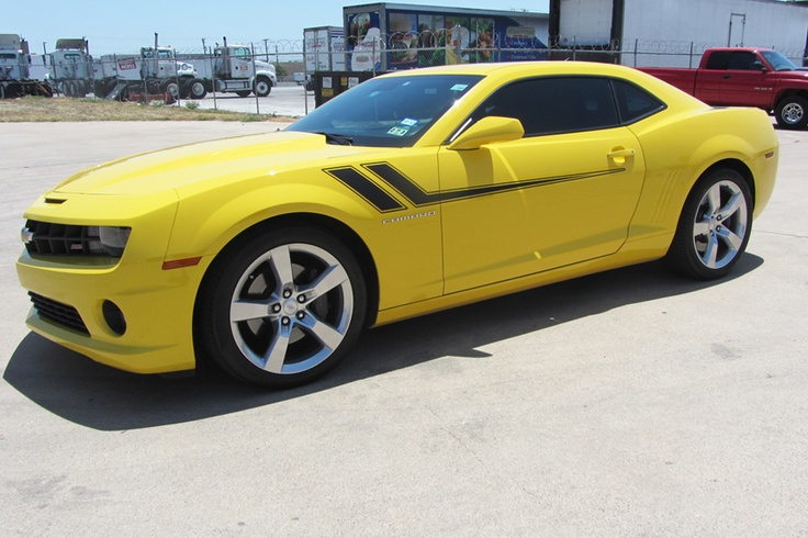Matte Black Side Accent Hash Stripe on a Yellow Camaro ...