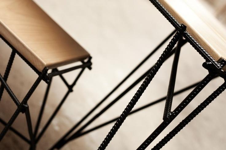 Soldered rebar and wood furniture