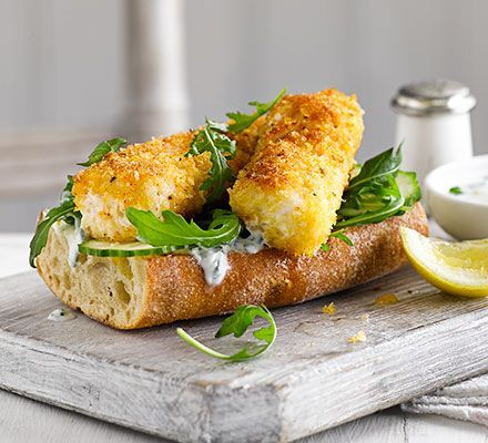 Lighter fish fingers: slash the fat, salt and calories in this comfort food classic, with homemade haddock fingers served on ciabatta as open sandwiches