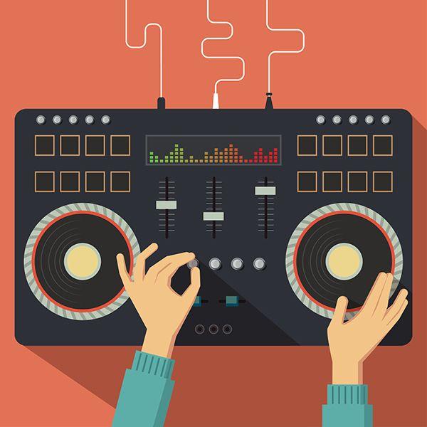 Dj controller. Vector illustration by Kovacs Tamas, via Behance