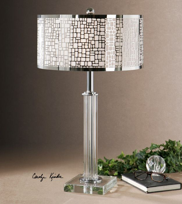 Uttermost Lucius Crystal Column Table Lamp. Thick Crystal Column And Foot  Accented With Polished Chrome