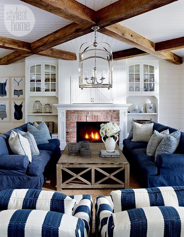 Beaded Board Ceiling With Beams And Above Fire;  Lake Muskoka Cottage With …