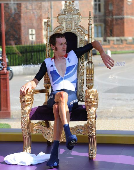 Bradley Wiggins lounges on the throne after winning the Olympic road time trail gold medal, London 2012