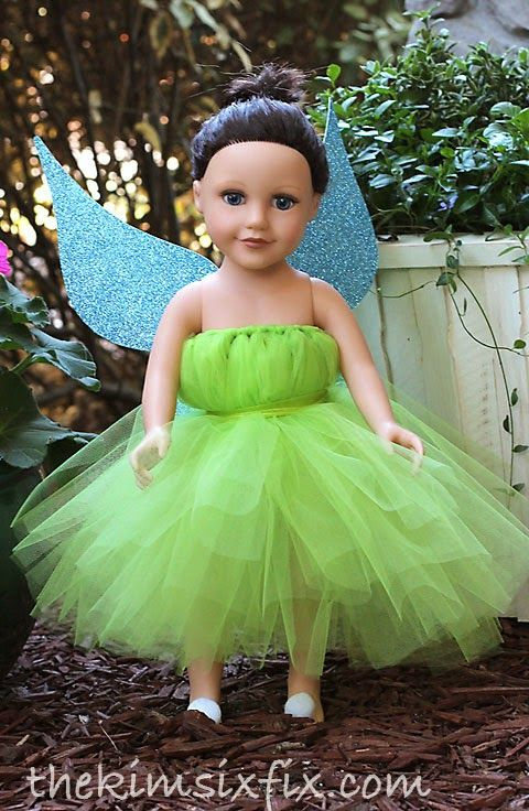 How to make a NO SEW Tinkerbell tutu dress for your American Girl Doll