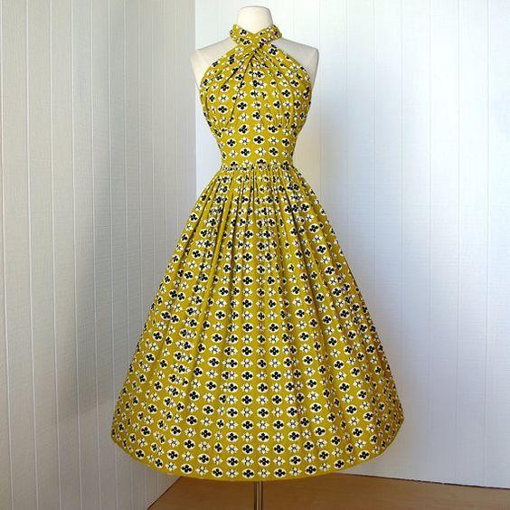 1950's Carolyn Schnurer Halter Dress