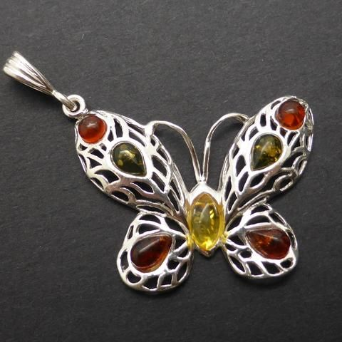 Genuine Baltic Amber Butterfly Pendant | 925 Sterling Silver | Starstone for Leo | Luck Prosperity Health | Crystal Heart Melbourne Australia since 1986