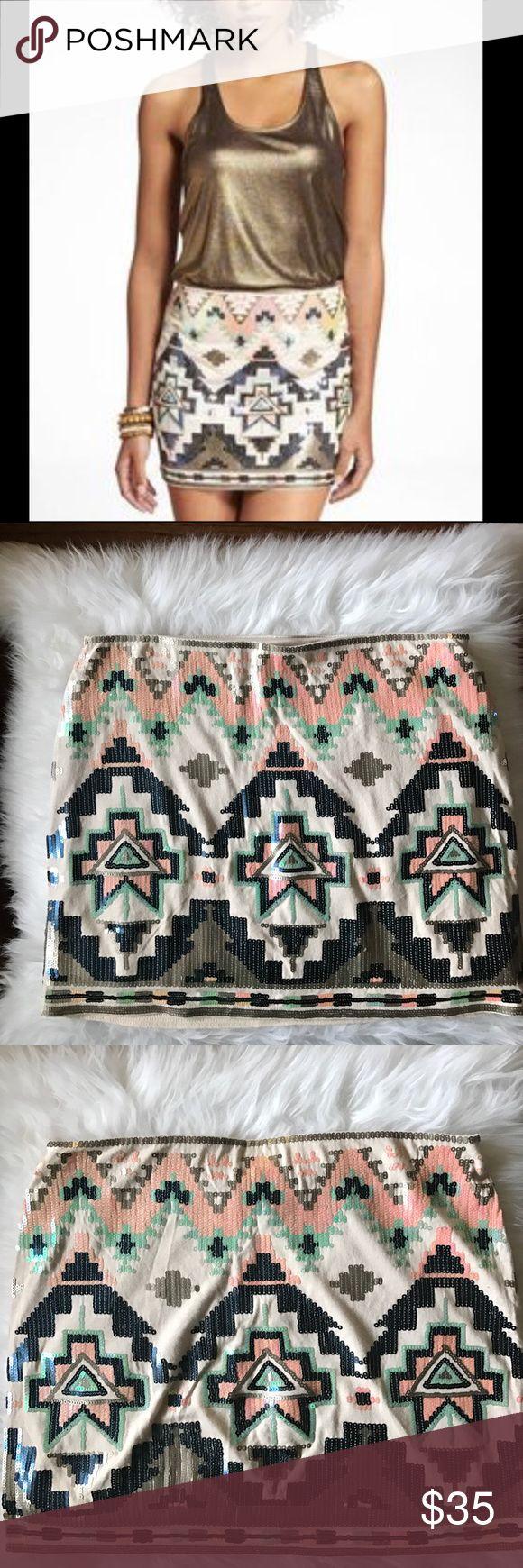 Express Sequin Mini Skirt Tribal print express sequin mini skirt. Measures 14 inches from waist to hem. Express Skirts Mini