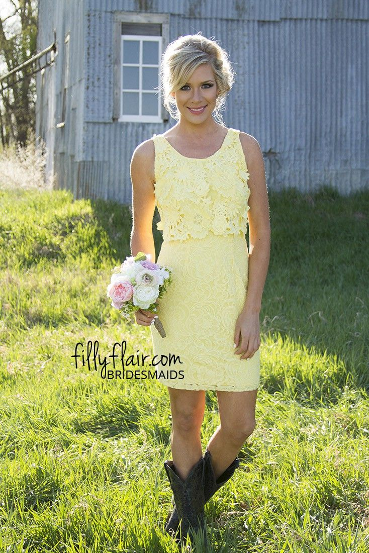 Vivian Day 3D Lace Bridesmaid Dress | We love this yellow short bridesmaid dress it would be a great choice for a country wedding!