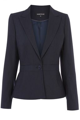This smart workwear jacket features an all-over pinstripe design, tailored cut, nipped in waist and single button fastening. Length of jacket, from shoulder seam to hem, 57cm approx. Height of model shown: 5ft 10 inches/178cm. Model wears: UK size 10Fabric:Lining: 100.0% Polyester.  Main: 64.0% Polyester  #WAREHOUSEWISHLIST
