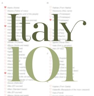 Italy101's list of italian baby names for boys