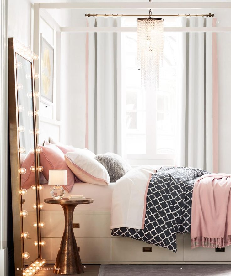 i am loving the new gold and rose mix small apartment bedroom