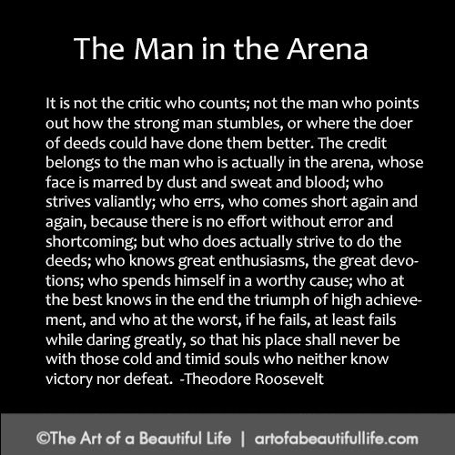 What You Need to Know When You're the Man in the Arena... | Read more... http://artofabeautifullife.com/man-in-the-arena/