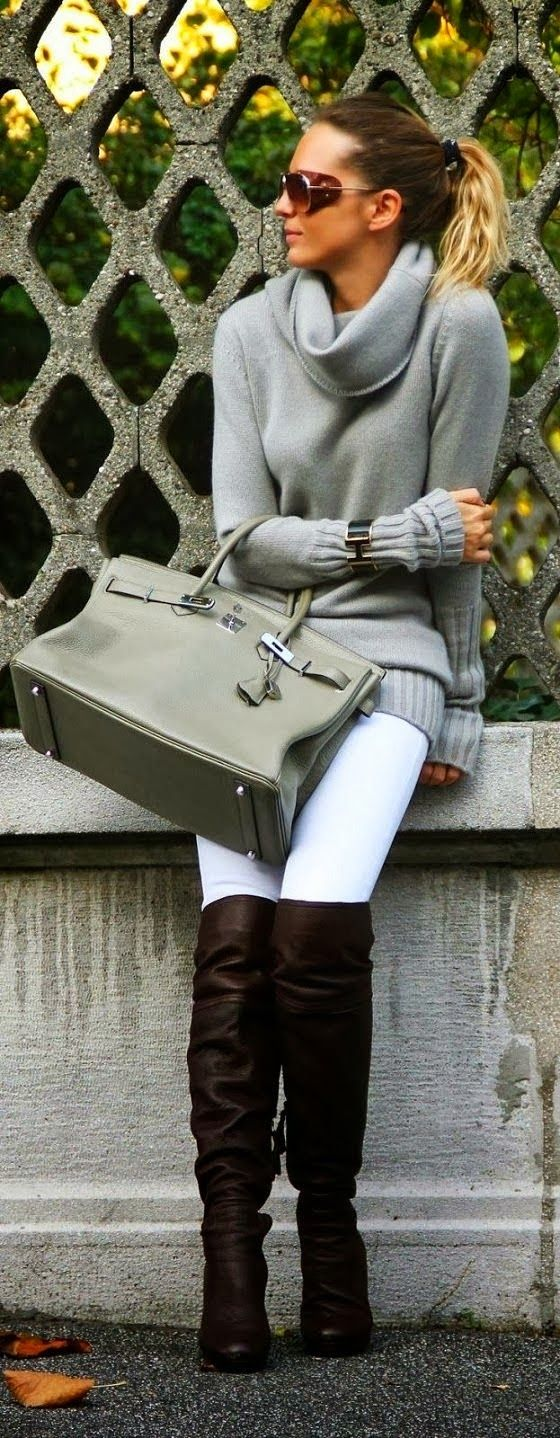 Grey Sweater with White Pants and Amazing Long Leather Boots ,Grey Leather Handbag