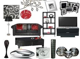 black grey red sitting room - Google Search