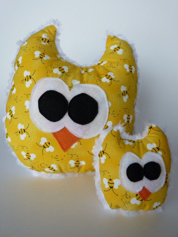 Yellow Bee Large and Mini Minky Owl Toys/Decorations on Etsy, $25.00 CAD