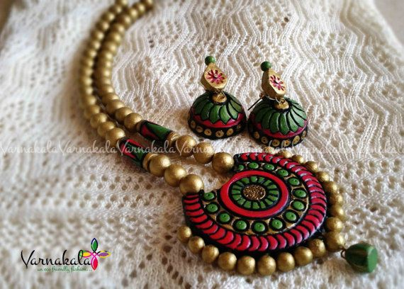 RED GREEN & GOLD Handmade Terracotta jewelry Long by Varnakala