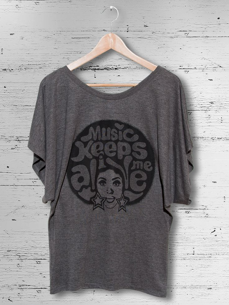 MUSIC KEEPS ME ALIVE // Single colour design screen-printed on 35% Viscose and 65% Polyester dark heather grey flowy draped sleeve dolman t-shirt using water inks.