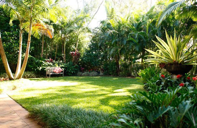 include pedestal pot w/ spiky green/gold and/or spider plant among waist-high stuff (philondendron?), red fescue at edge? - http://design-rumah.com/wp-content/uploads/2013/01/fresh-garden-tropical-style.jpg