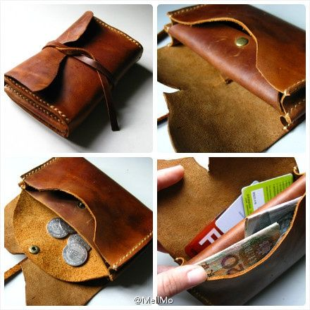 Handmade vintage leather purse by Mell
