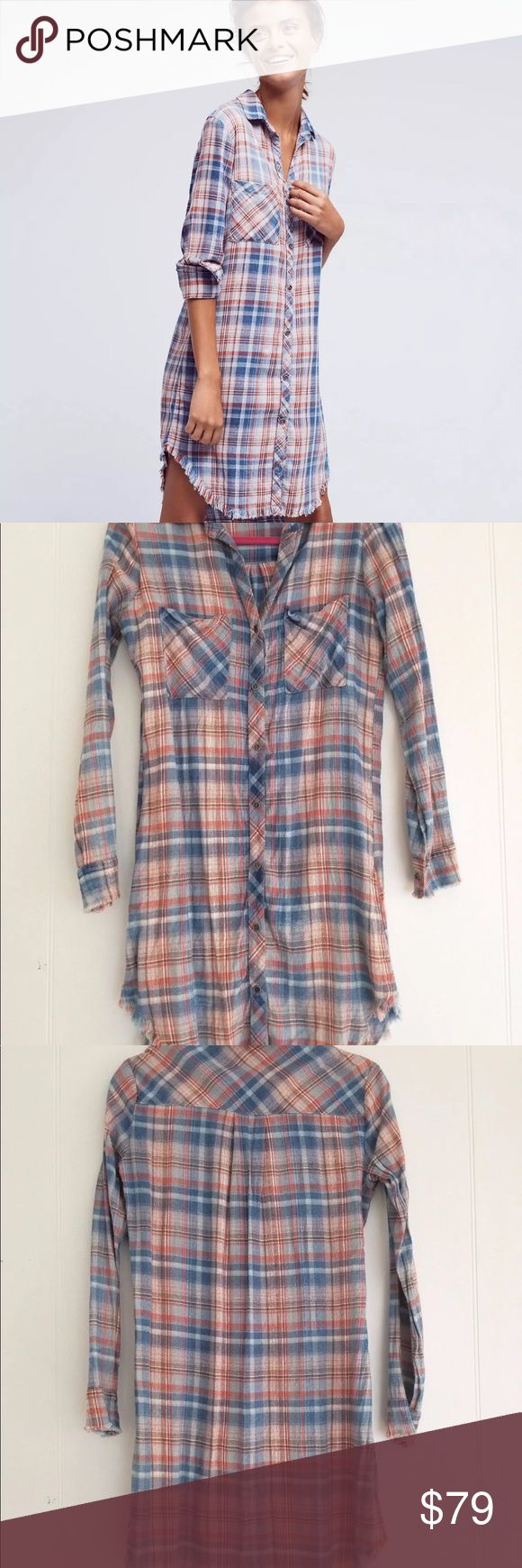 EUC-anthropologie cloth & stone plaid shirt dress EUC- Anthropologie Cloth & Stone soft fringe plaid button down flannel shirt dress. Size xs Anthropologie Dresses Long Sleeve