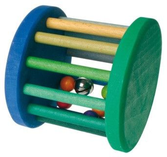 Beautiful handmade and hand painted rolling wheel with bells ideal for gross motor skills development. Young ones will delight in rolling the wheel along the floor. ( Please note that this is not a rattle ) Dimensions: 15 x 14 cm