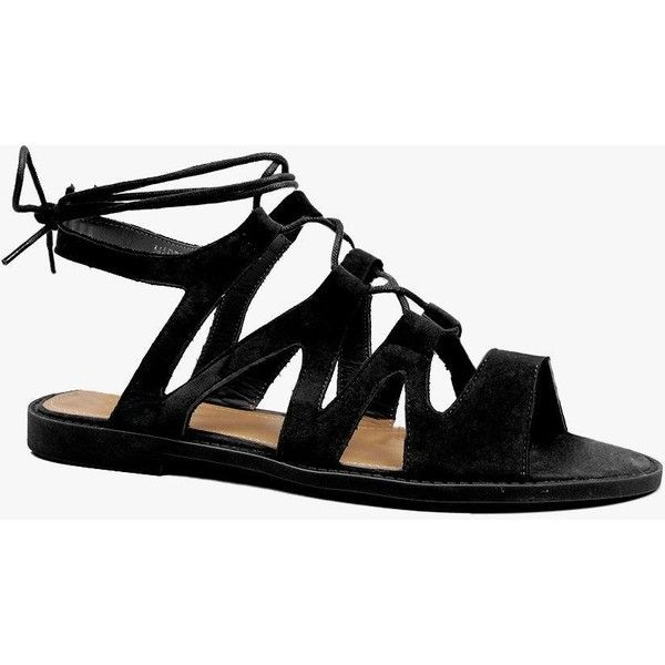 Boohoo Aimee Lace Up Flat Sandal ($35) ❤ liked on Polyvore featuring shoes, sandals, black, flat pumps, black loafers, black flat sandals, lace-up sandals and black flat shoes