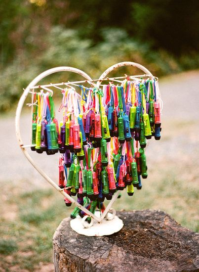 Camp Wedding Ideas: mini flashlight favors (apparently we weren't the first to think of this...)