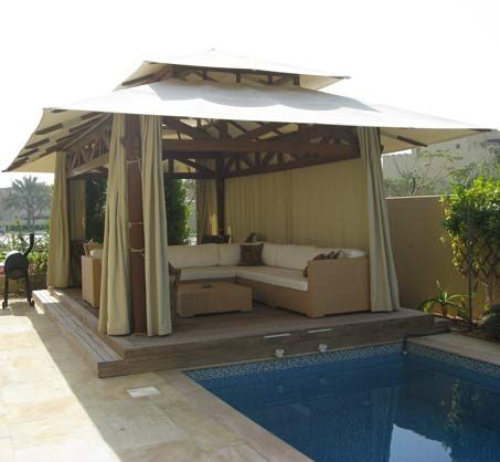 Gazebo Canvas Roof Rectangular Size Pool Side Gazebo