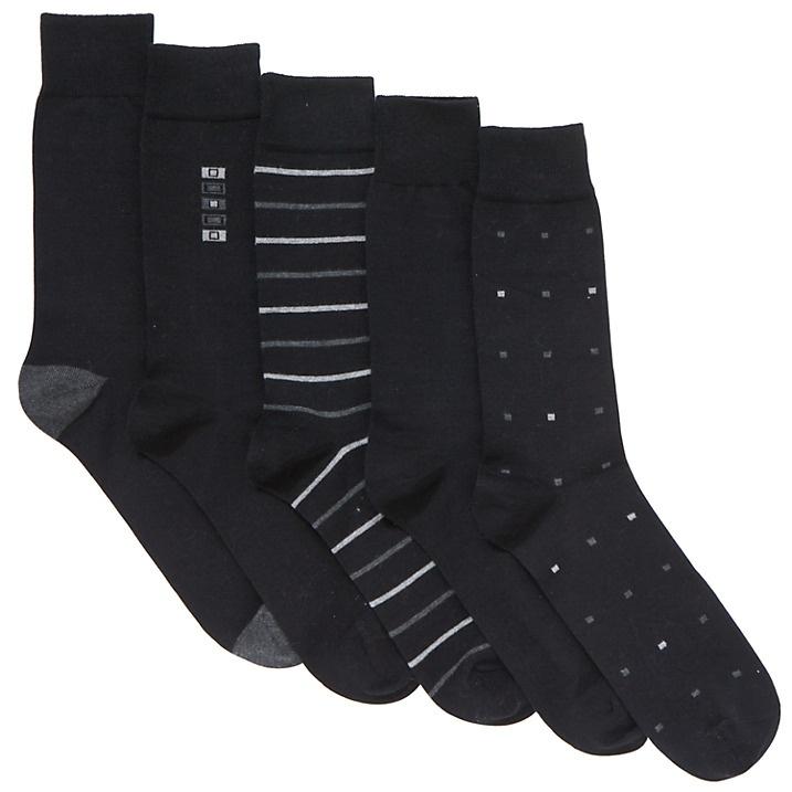 Buy John Lewis City Socks, Pack of 5, Black, S Online at johnlewis.com