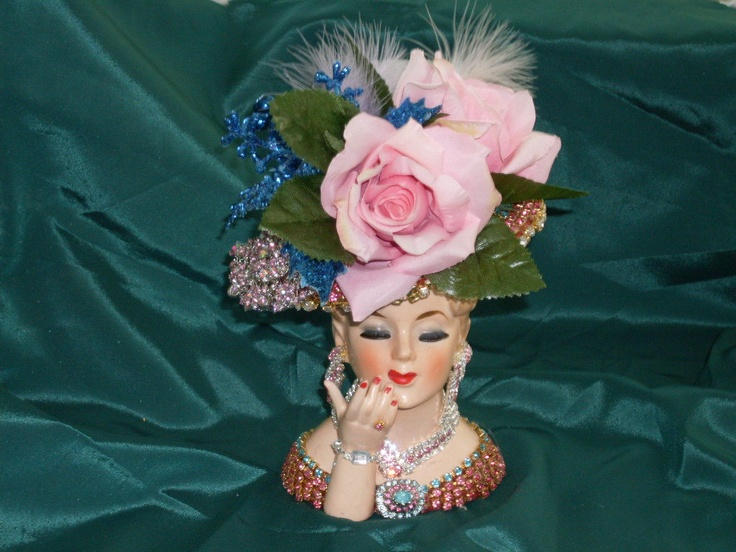 Napco Jeweled lady head vase, pink and blue