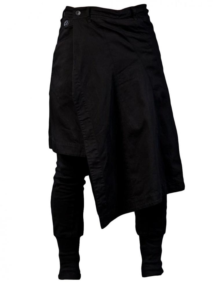 JULIUS - Skirted Slim Pant - 397PAM12 BLK-1 - H. Lorenzo