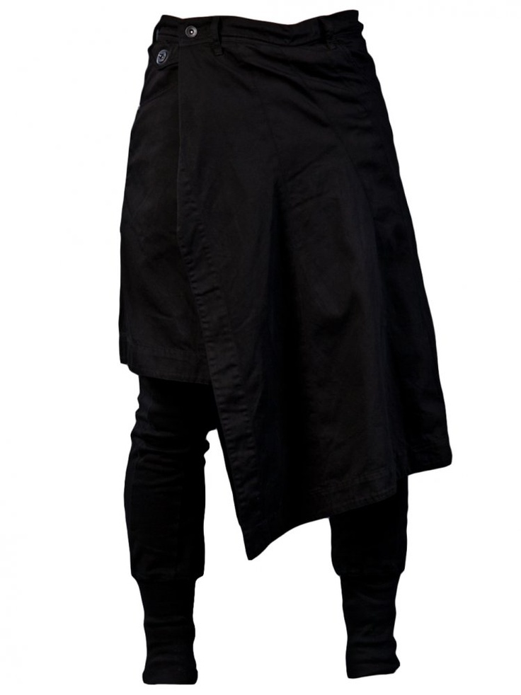 JULIUS - Skirted Slim Pant - 397PAM12 BLK-1 - H. Lorenzo