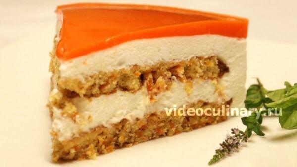 Торт Итальянское лето - морковь, орехи, сливки, белки, желатин, морковный сок.