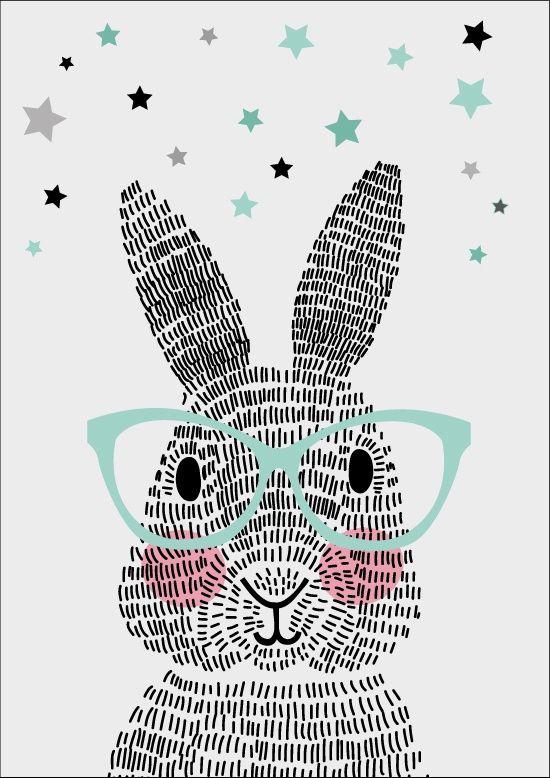Stationery Mr. Rabbit ► Wat een schatje is het toch! Deze Mr. Rabbit bestaat uit maar liefst honderdachtentwintig streepjes.  Dit vrolijke konijn is er zo eentje die je wílt hebben. Om op te sturen en iemand anders blij te maken, of natuurlijk voor jezelf! Hang hem op met masking tape of doe het in een mooi lijstje. Sparkling Paper is een nieuw Nederlands merk, pas sinds februari 2015 op de markt, dus jij bent één van de eersten die zo'n mooie poster of kaart in huis kan halen!