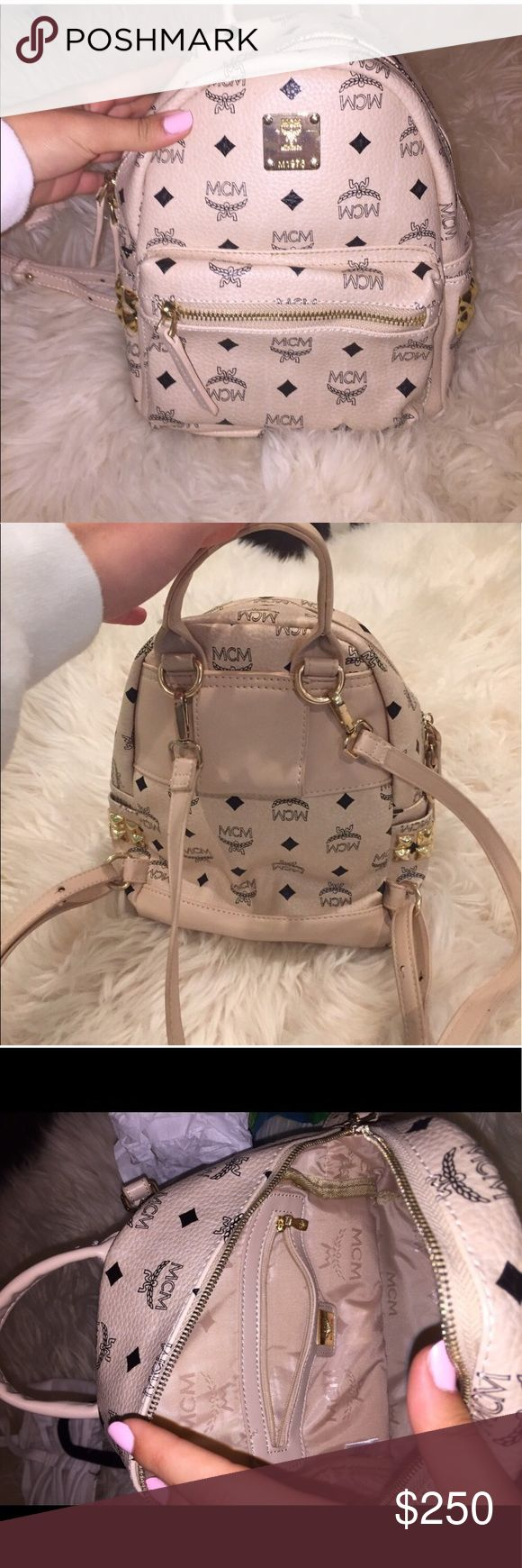 still available for purchase: mini MCM backpack beige color. zippers work perfectly. buyer cancelled because i didn't ship on time...i had no boxes to put the item in...but i do now;) MCM Bags Backpacks