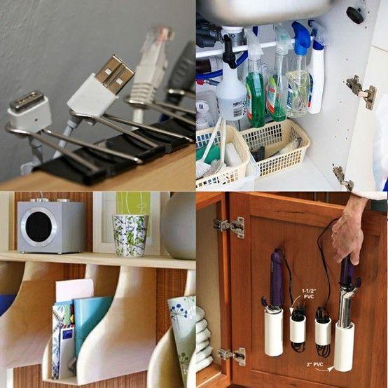 organizingOrganizing Ideas, Households Items, Organic Ideas, Binder Clips, Tension Rods, Household Items, Households Organic, Organization Ideas, Storage Ideas