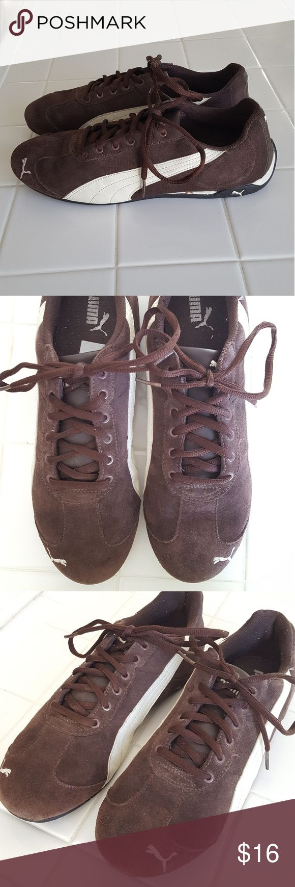Men's PUMA sneakers, brown suede, Sz 8.5 Brown suede men's PUMA athletic shoes, gently used Puma Shoes Athletic Shoes