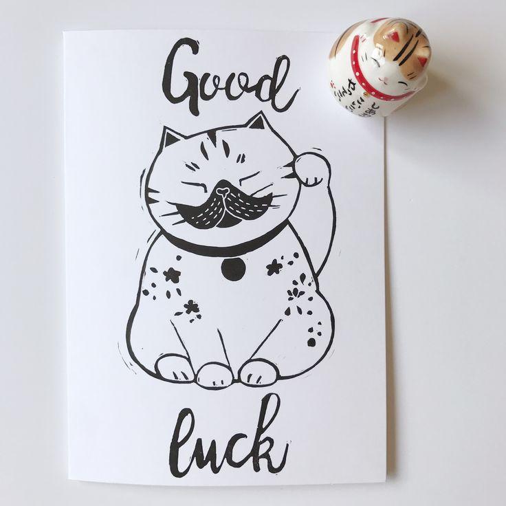 Good luck cat link print good luck card