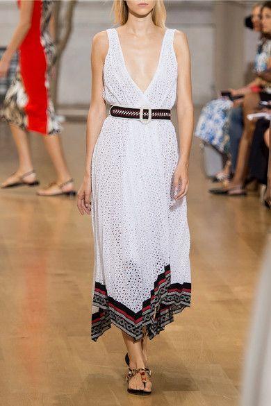 Oscar de la Renta - Lace-trimmed Broderie Anglaise Cotton-blend Wrap Midi Dress - White - US6