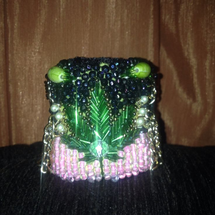 Bead embroidered bracelet Cannabis Jewerly